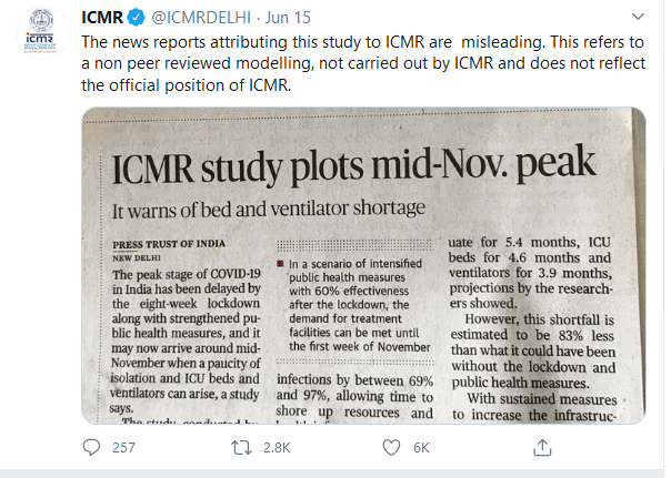 COVID 19- what is ICMR reaction- image position below para 2.