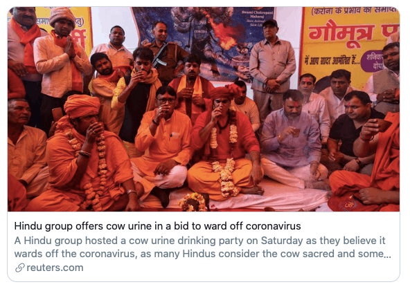 statement 1- Cow urine(gaumutra) and cow dung(gobar) can help you fight Corona