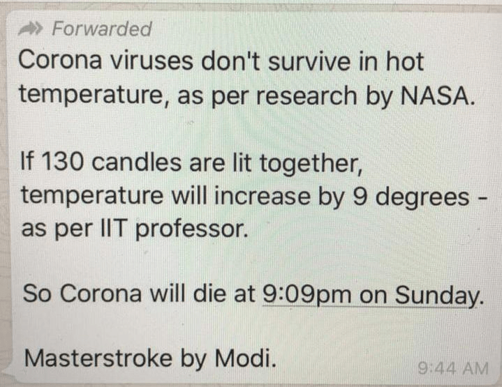 statement 5- WhatsApp and its scientific reasons on how lighting diyas will kill Corona