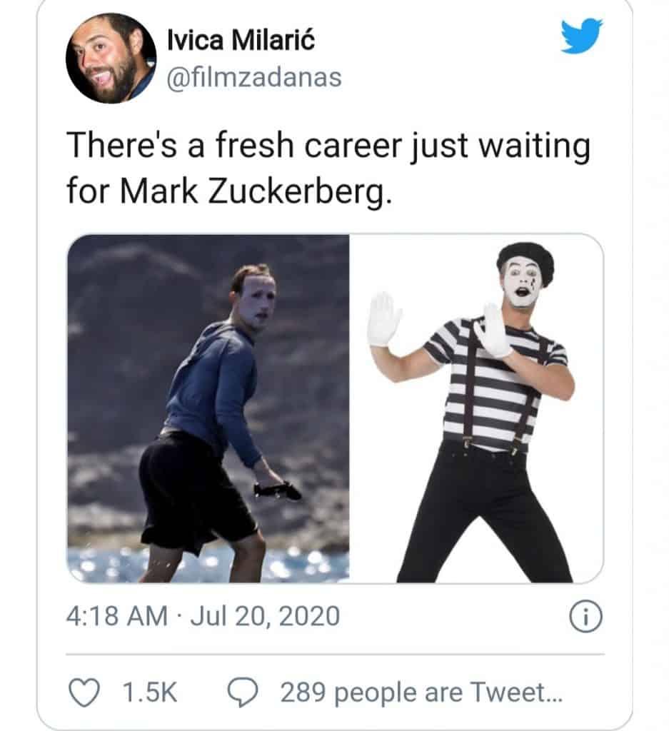 Mark Zuckerberg Surfing (clown)