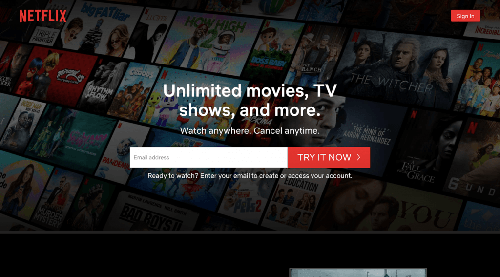 movie streaming apps(Netflix)