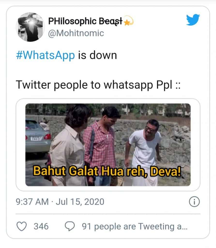 whatsapp server down(twitter sympathizing users)