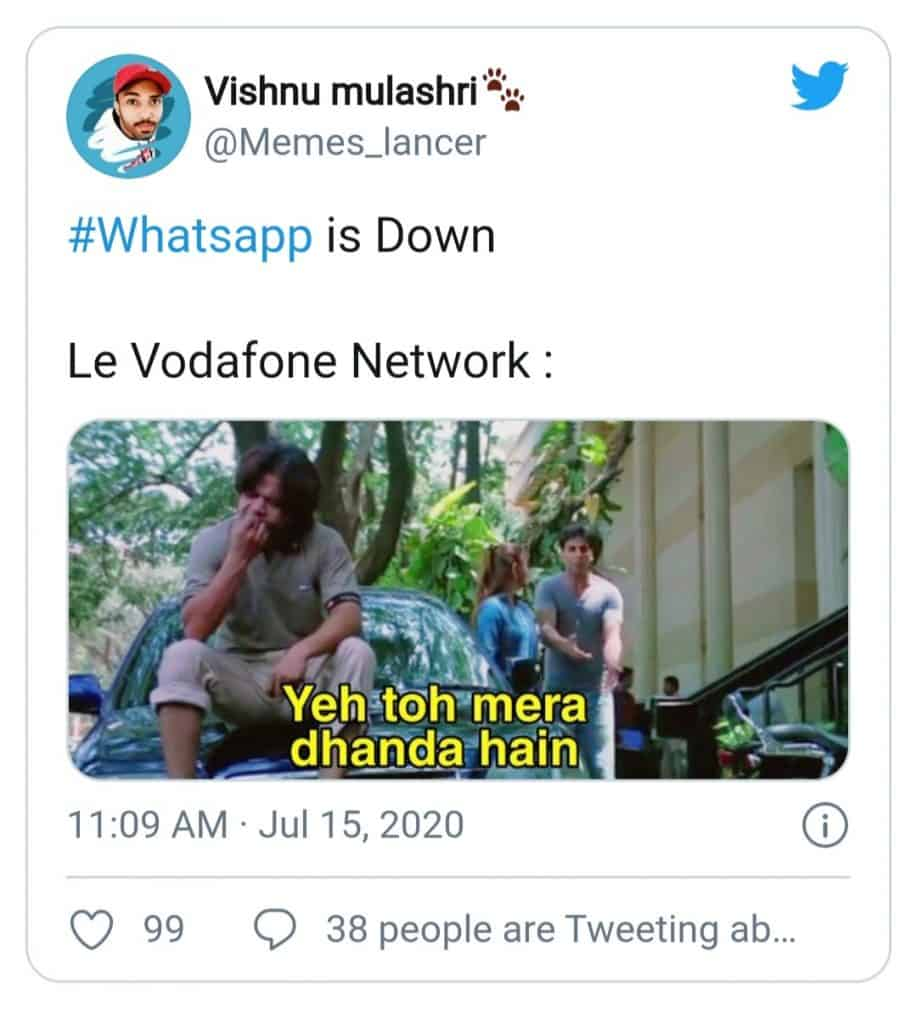 whatsapp server down(vodafone meme)