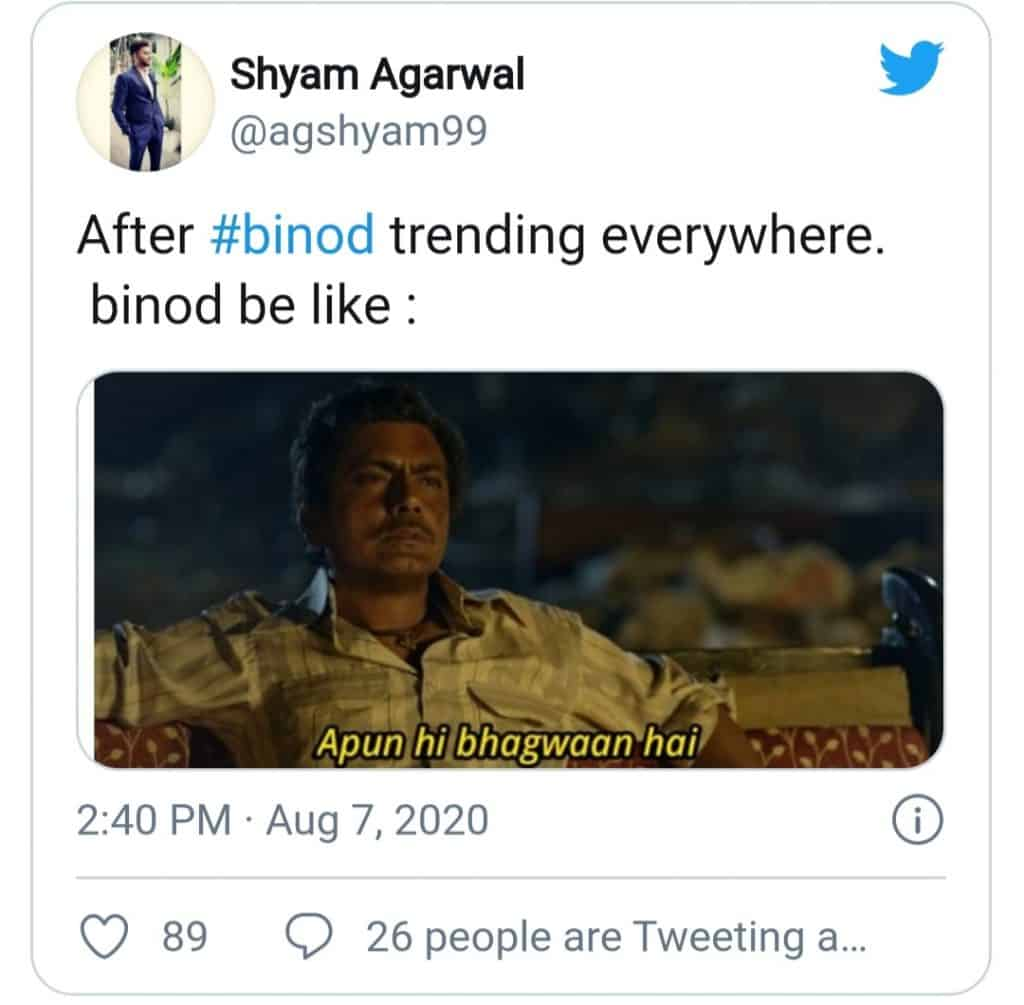 everything is binod(binod might be reacting
