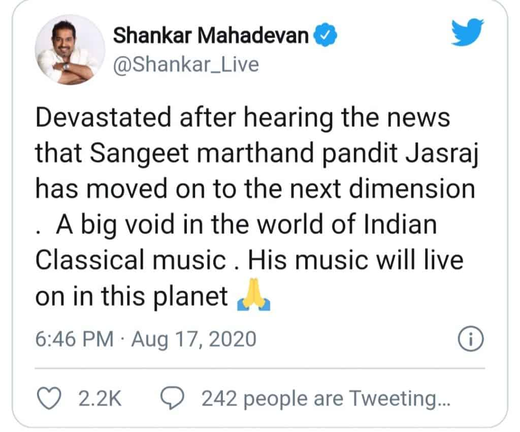 pandit jasraj(tweet of Shankar mahadevan