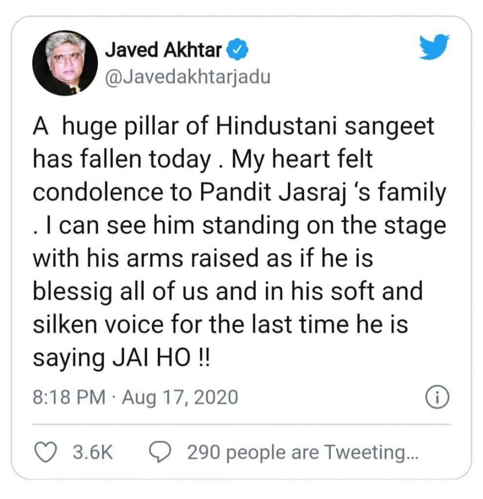 pandit jasraj(tweet of javed akhtar