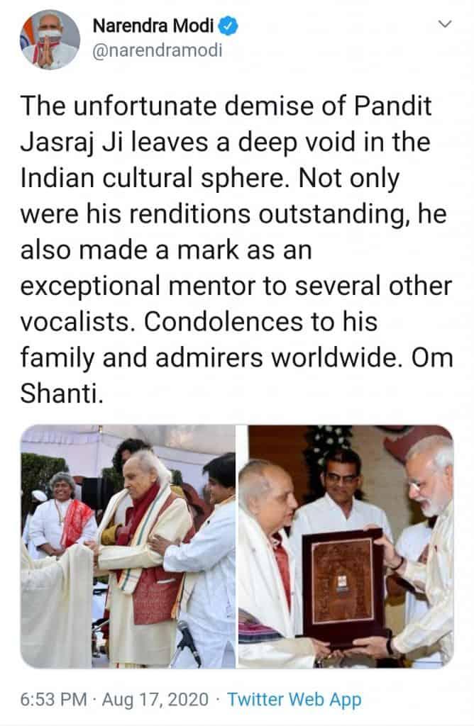 pandit jasraj(tweet of modi ji