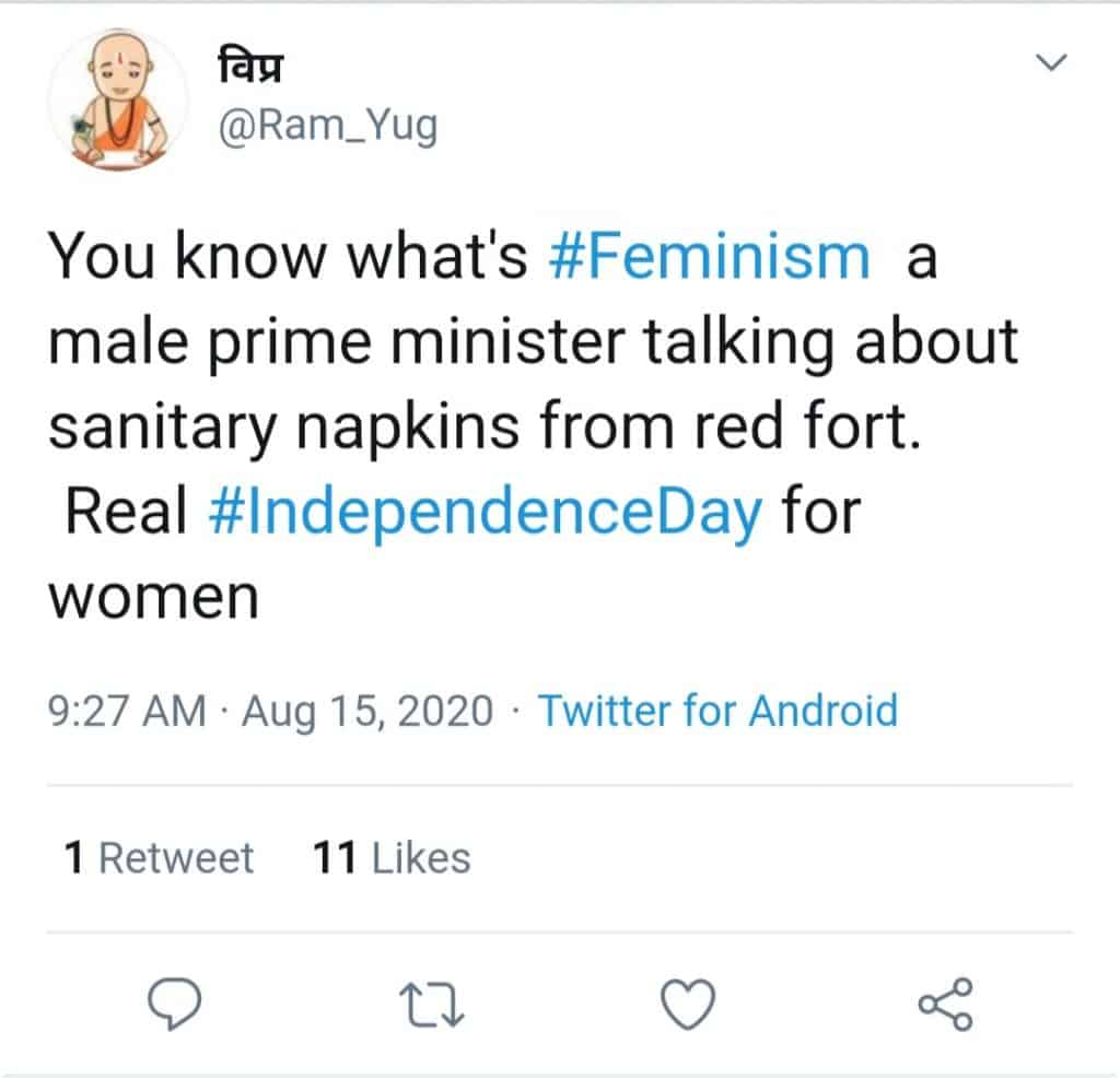pm modi breaks taboo(tweet about feminism