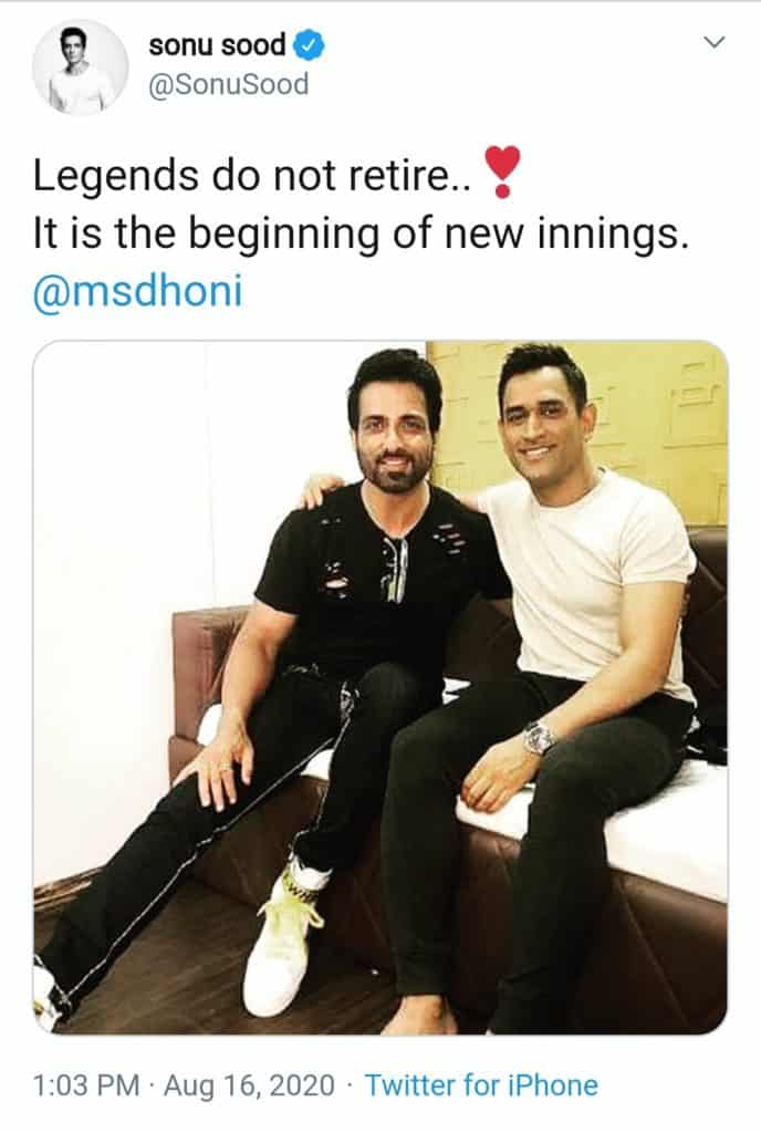 touching tributes for captain cool dhoni (sonu sood tweet