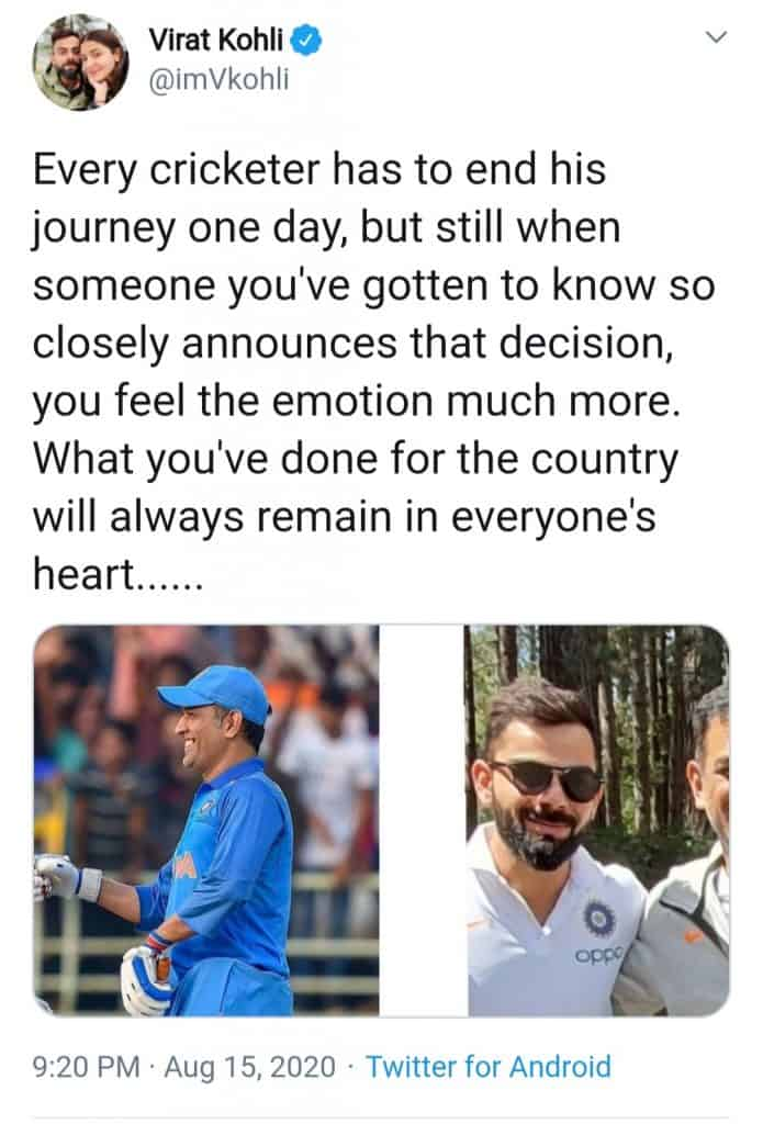 touching tributes for captain cool(tweet of virat kohli