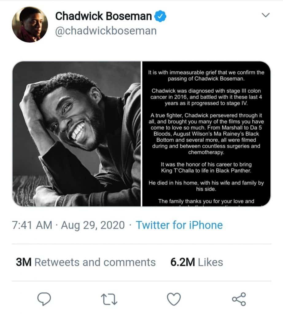 Chadwick boseman (confirmation