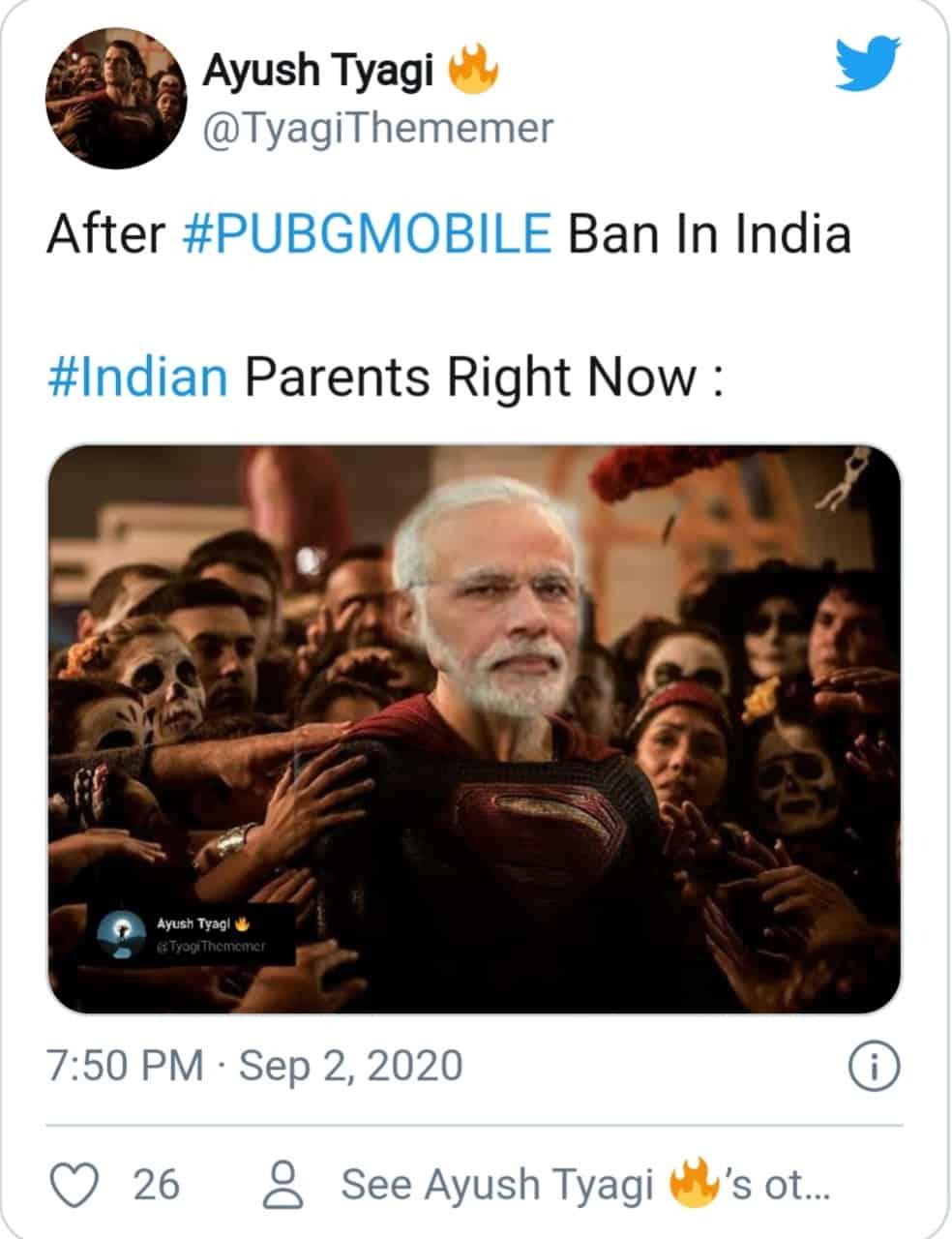 PUBG ban (indian parents and modiji