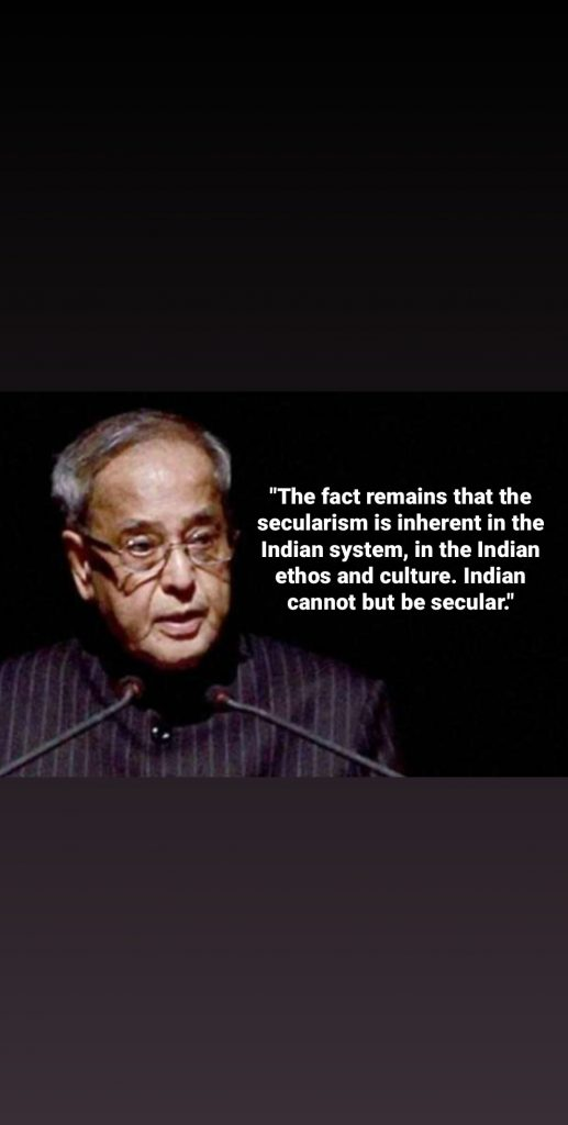quotes from pranab Mukherjee (secularism